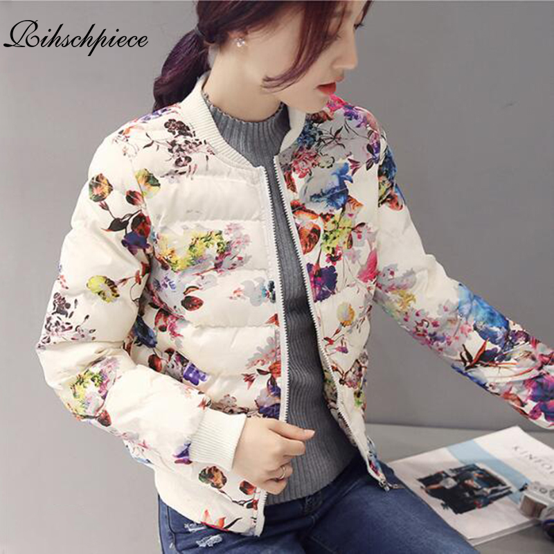 Rihschpiece 2018 Winter Print Jacket Women   Parka   Cotton Padded Coat Flower Jackets Short Casual Clothes RZF1317
