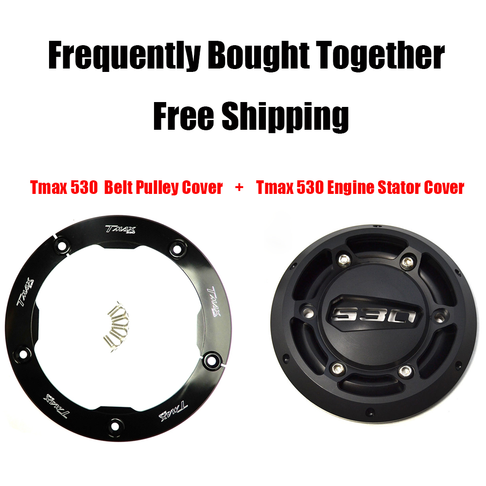 CNC Aluminum TMAX 530 Engine Stator Cover Protector + Belt Pully Cover For Yamaha Tmax T max 530 2012 2013 2014 2015 2016 цена 2017