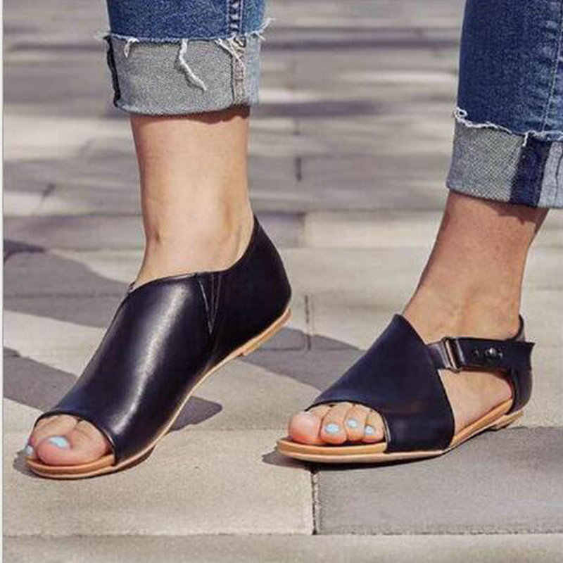 2019 Hot Sale BIG SIZE 43 Women sandals Buckle flats shoes ladies Summer printing Snakeskin sandals Platform Beach sandals WW-28