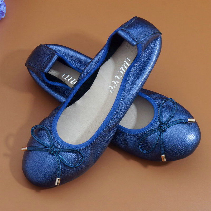 Fashion High Quality Metal Color Women Round Head Flats Genuine Leather Super Soft Shallow Mouth Comfort