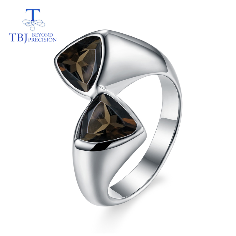 TBJ Natural smoky quartz triangle gemstone classic simple style Ring 925 sterling silver fine jewelry for