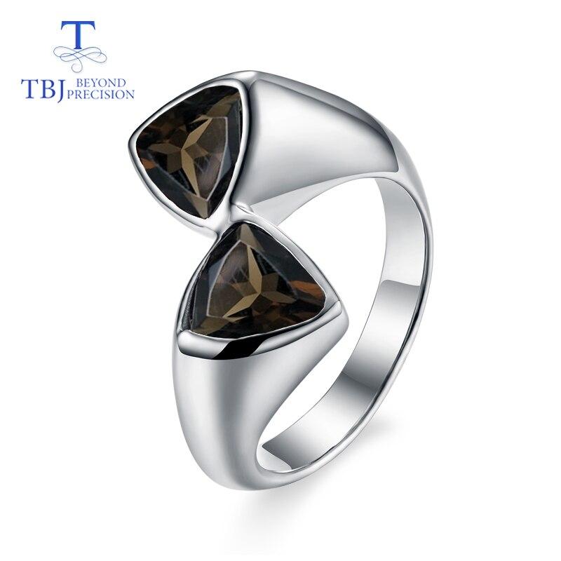 Takı ve Aksesuarları'ten Halkalar'de TBJ, Doğal dumanlı kuvars üçgen taş klasik basit stil Yüzük 925 ayar gümüş güzel takı bayan için doğum günü hediyesi'da  Grup 1