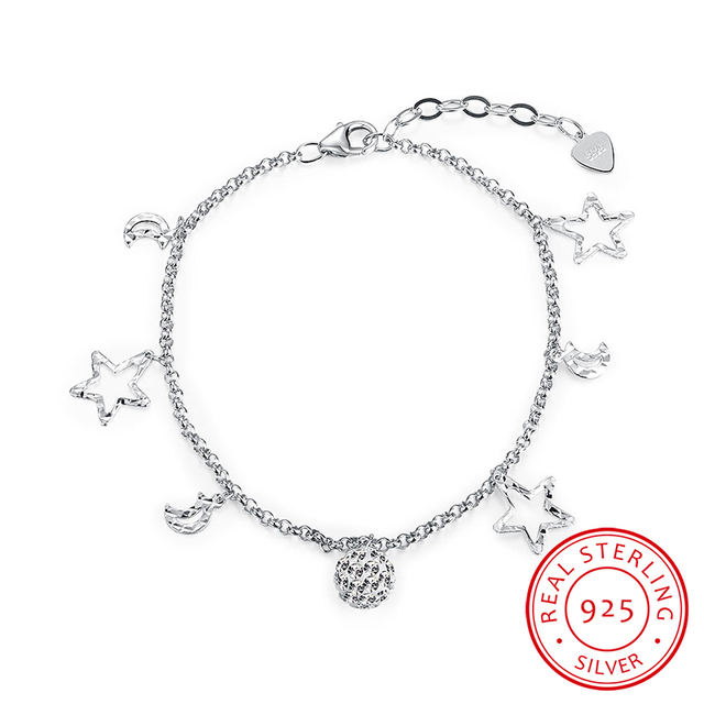Robira Europe Popular Adjustable Bracelet For Women 925 Sterling Silver Starry Moon Bracelets Jewelry Birthday Gift