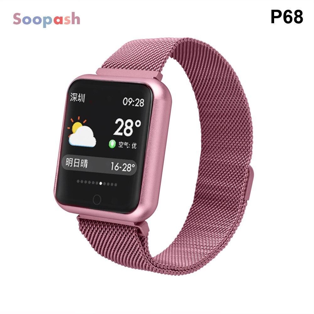 Relógio inteligente p68 masculino mulher pressão arterial monitor de freqüência cardíaca esportes rastreador smartwatch ip68 conectar ios android pk dz09