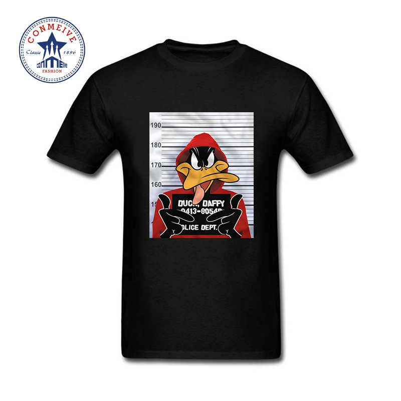 Summer Natural Short Sleeve Tshirt Men Clothes Looney Tunes Daffy Duck Mugshot Printed Cotton Funny   T     Shirt   For Men