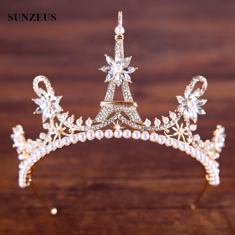 New Hot-selling Bridal Crowns Silver/ Gold Wedding Tiara Cute Princess Headband Pearls Crystal SQ0259