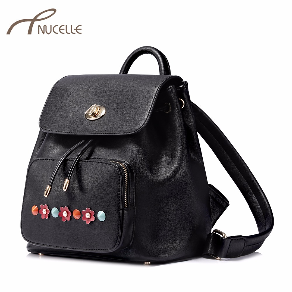 NUCELLE Women's PU Leather Backpack Ladies Fashion Flower Rivet Double Shoulder Bags Female String Leisure Brand Rucksack