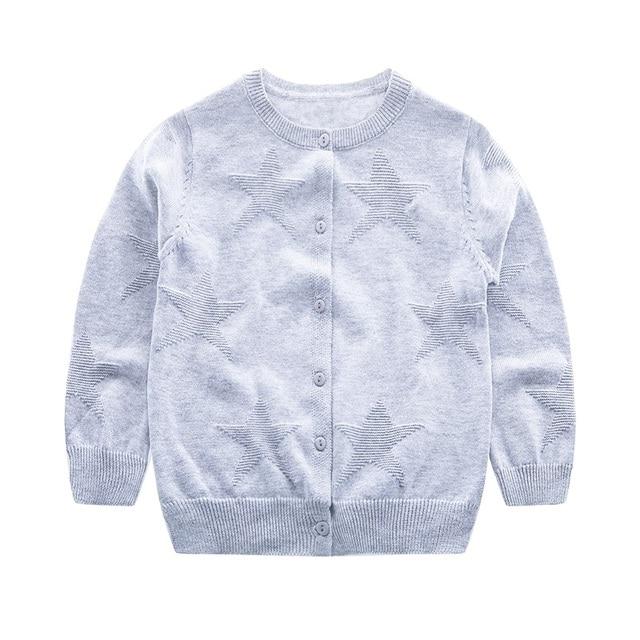 3dc64bcb31dc Casual Star Baby Sweater Cotton Long Sleeve O Neck Kids Cardigan ...