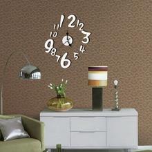 2017 Wall Clock new real metal 3D DIY acrylic mirror wall clock watch clocks home decoration modern needle quartz sticker D30A12