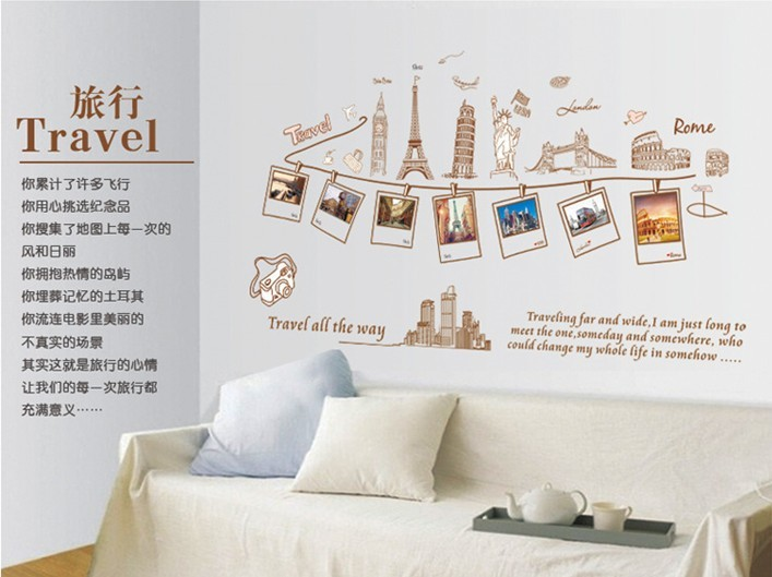 Diy travel photo frame Wall Stickers 60*90cm Charm The fun