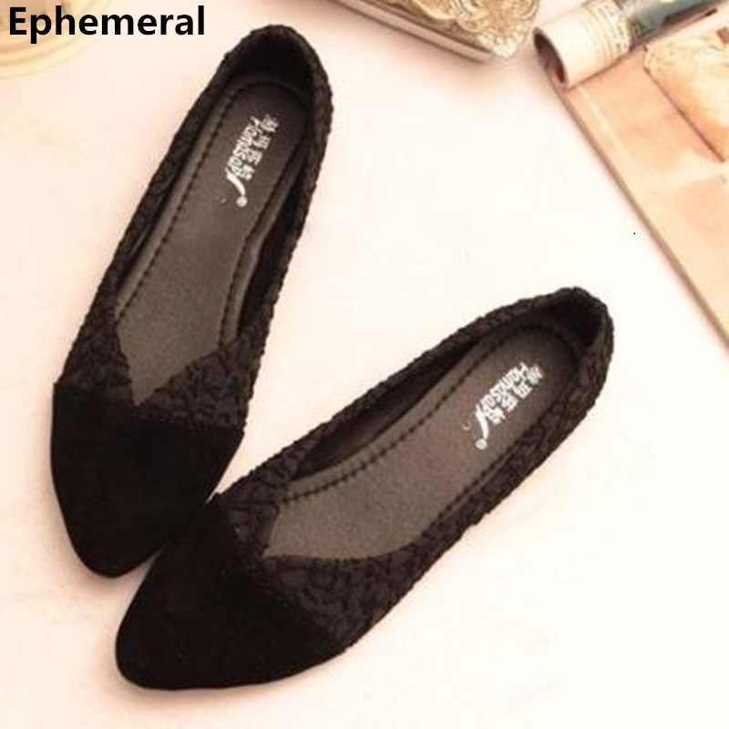 c1ae33de439b Ladies Best selling ballerine femme chaussure Flats Pointed toe sapato  feminino Black Beige Plus Size 46