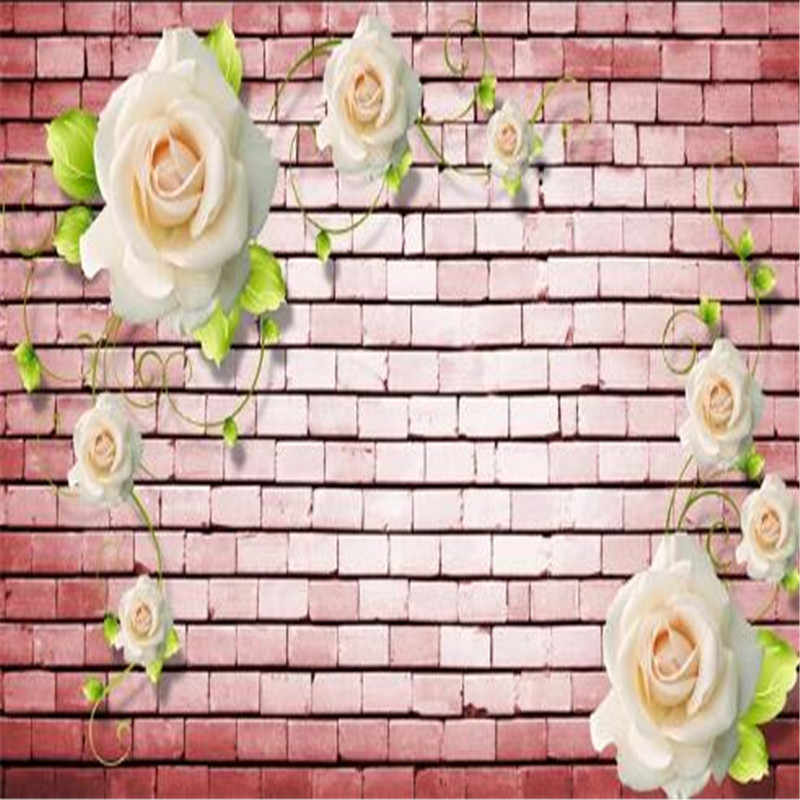 3D фотообои белая роза обои красный Винтаж кирпич ТВ из сандалового, черного дерева для стены 3D дизайн тема отель Бар обои