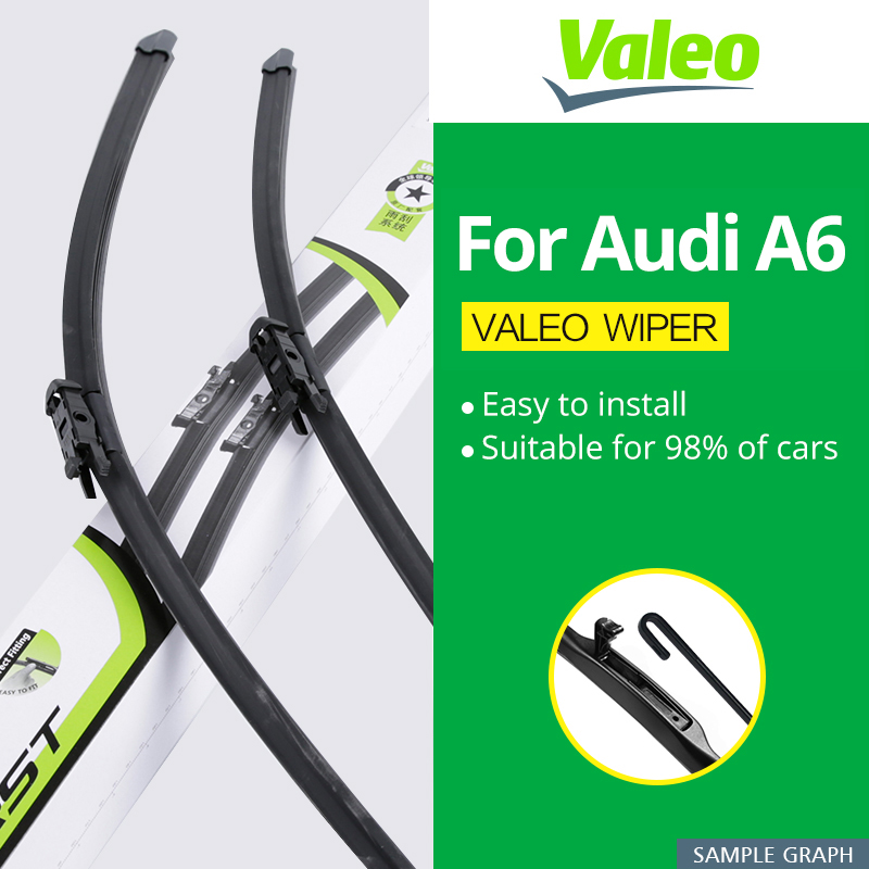 Valeo Wiper Blades for Audi A6 C5 / C6 / C7 Fit Hook / Slider / Claw / Push Button Arms Model Year from 1997 to 2017 wiper blades for audi a6 c7 4g 26