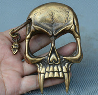 FREE Shipping Collect China Old Bronze Skull Skeleton Head Self Protection Boxing Buckle Rings