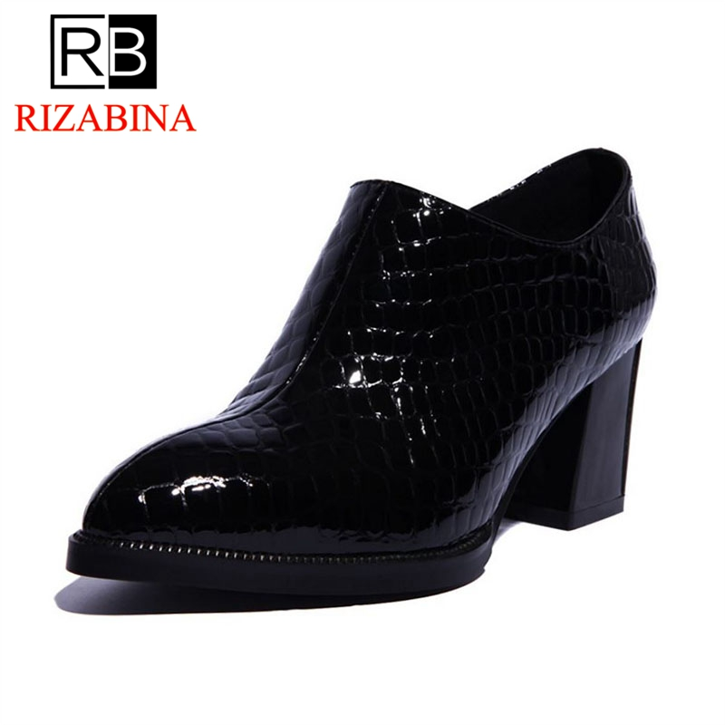 RIZABINA Women Real Leather High Heel Shoes Sexy Pointed Toe Black Shoes Heels Retro Thick Heels