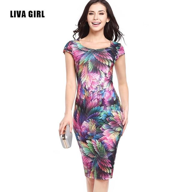 Новый 2017 Женщин Летом Элегантный Печати Цветочные Оболочка Платья Дамы Тонкий Колен Офис Sexy Карандаш Bodycon Партия Dress
