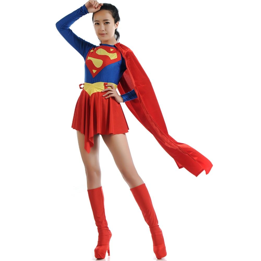 Classic Supergirl Costume Sexy Women Superhero Costume -6960