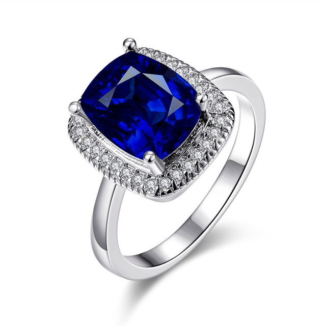 Classic White Gold Wedding Ring Female Oil Drip Edge Crystal Blue