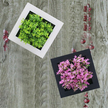 Plantas suculentas 3D Handmade suculentas artificiais de madeira da foto da parede quadro pendurado flores artificiais home living Room decor(China)