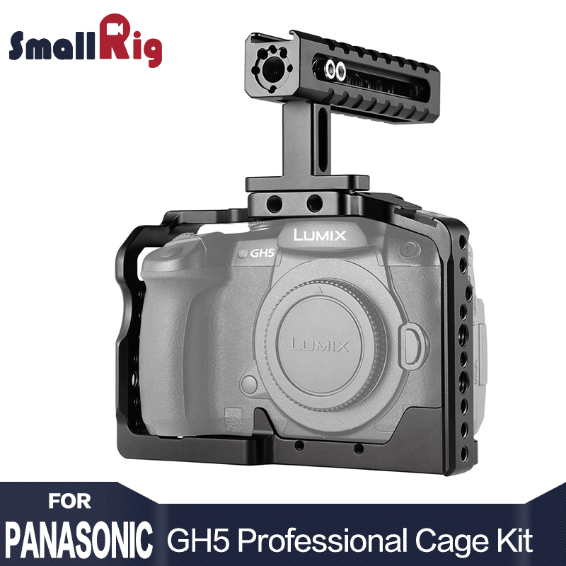 SmallRig Camera GH5 Dual Aluminum Cage kit For Panasonic Lumix GH5 / GH5S Form Fitting Cage with Top Handle Grip 2050 yelangu aluminum alloy camera video cage kit film system with video cage top handle grip matte box follow focus for dslr
