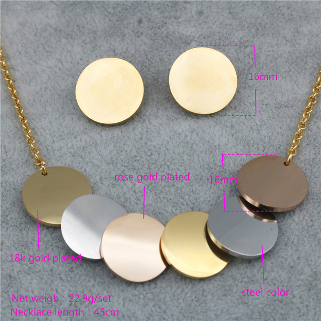 PZ Trendy Stainless Steel Three-Color Pendant Necklace Earrings Jewelry Sets for Women Wholesale 1