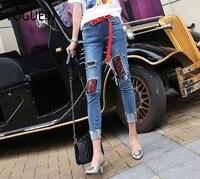 VOGUE! N Nowy Kobiet Dam Mesh Floral Haftowane Mix Niebieski Denim Spodnie Spodnie Jeans Rozmiar SML Hurtownie