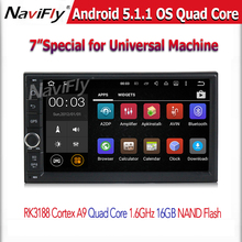 Quad Core android 5.1.1 1.6GHZ CPU Car GPS navigation player for 2 din universal car radio stereo support OBD2 DVR free shipping