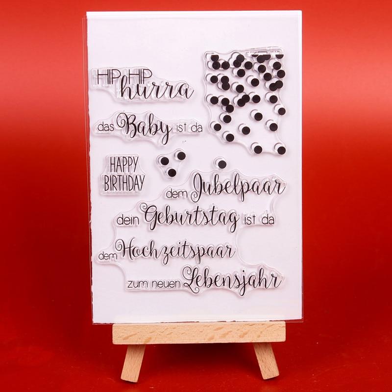 Palabras alemanas sello de silicona transparente transparente / sello - Artes, artesanía y costura