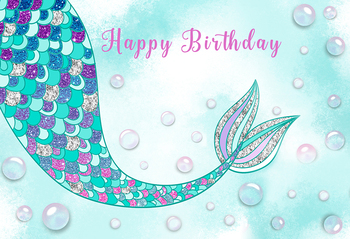 Mermaid Birthday Party Princess Backdrop Photocall Under Sea Background Baby Shower Dessert Table Decoration Photo Booth W-1814