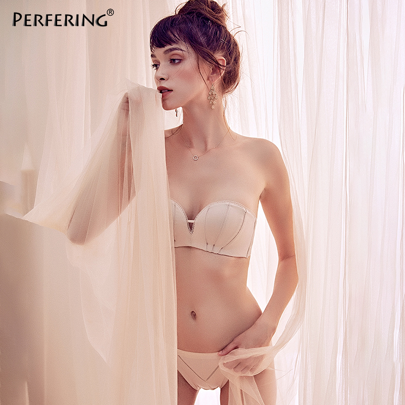Perfering Sexy Fashion Push Up   Bra     Set   Invisible Strapless Brassiere Bralette   Brief     Sets   Thick Cotton Lingerie Underwear Female