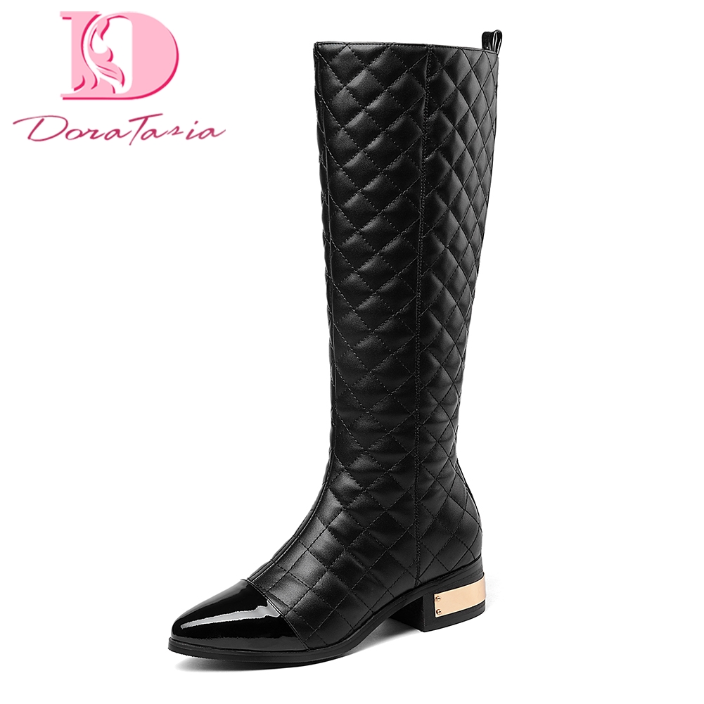 Doratasia Brand new Genuine Leather large size 33 45 Zip Up Shoes Woman Boots knee high