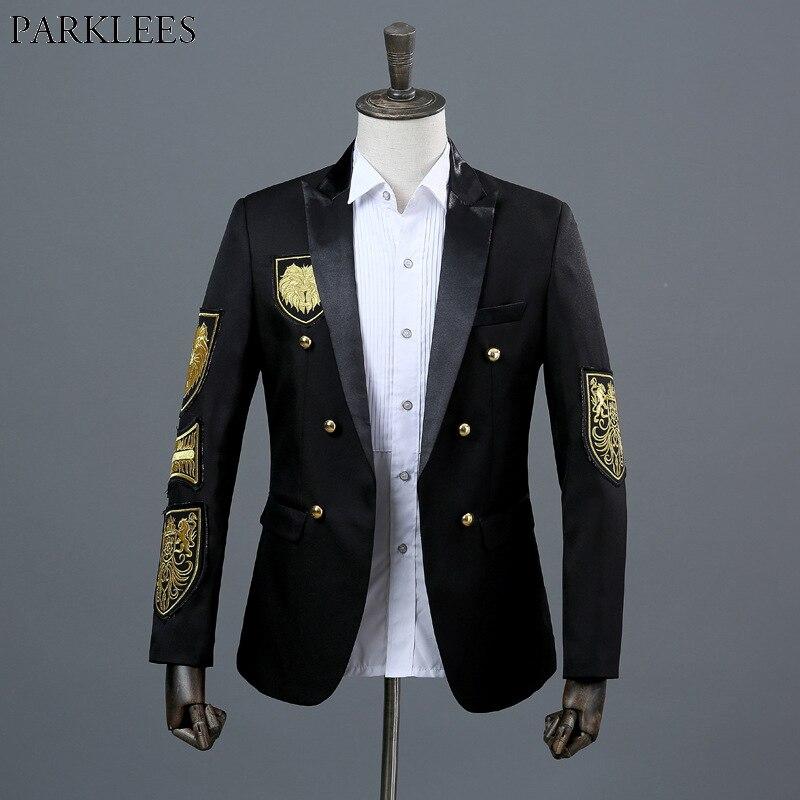 ทองเหรียญเย็บปักถักร้อยสีดำ & Blazer ชายเสื้อคู่บุรุษทหาร Blazer Jacket Stage Prom แสดงนักร้องเครื่องแต่งกาย Homme xxl-ใน เสื้อเบลเซอร์ จาก เสื้อผ้าผู้ชาย บน   1