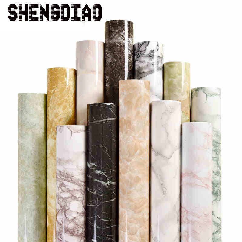 Shengdiao Marble Renovation Waterproof Adhesive Stickers PVC Wallpaper Wallpaper Wall Stick Ambry Mesa Table Furniture