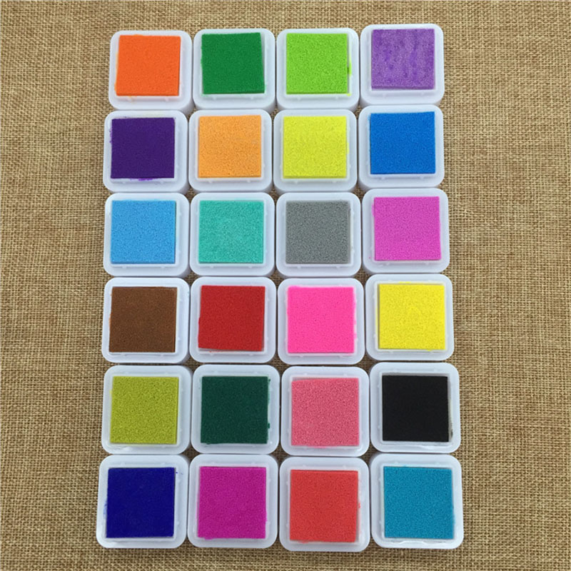 Image 2 - 24 Colors Cute Inkpad Cartoon Stamp Craft Oil Based DIY Ink Pads for Rubber Stamps Scrapbook Decor Fingerprint Kids Toy-in Stamps from Home & Garden