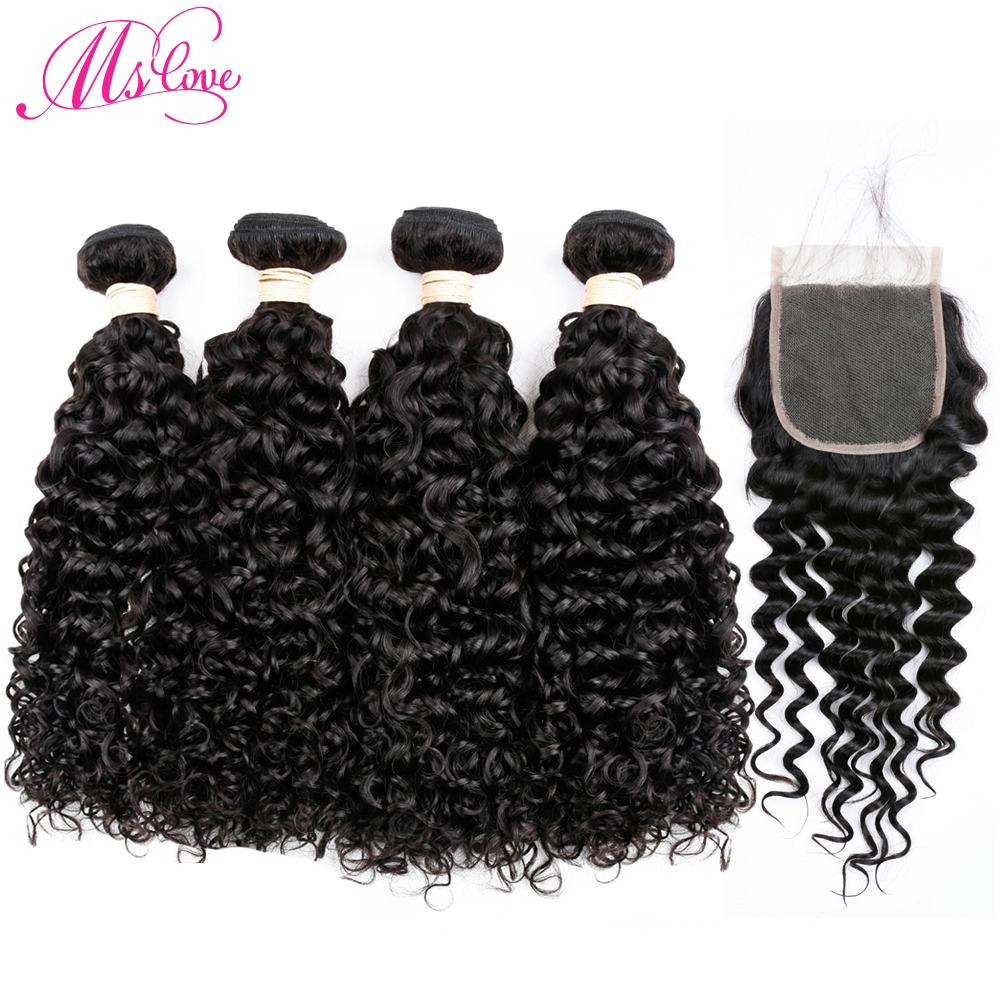 Lace Frontal Closure With Bundles 4 Pcs Water Wave Human Hair Bundles With Closure Pre P ...