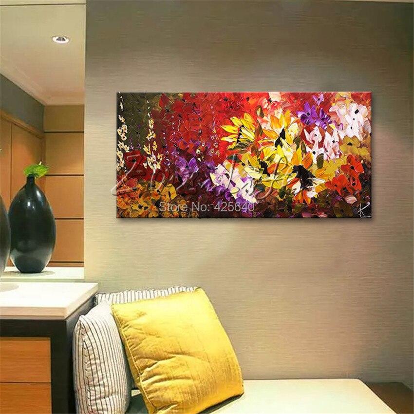 Fiore di parete dipinta a mano di pittura spatola fiore selvatico pittura astratta olio su tela moderno stanza decora soggiorno 1