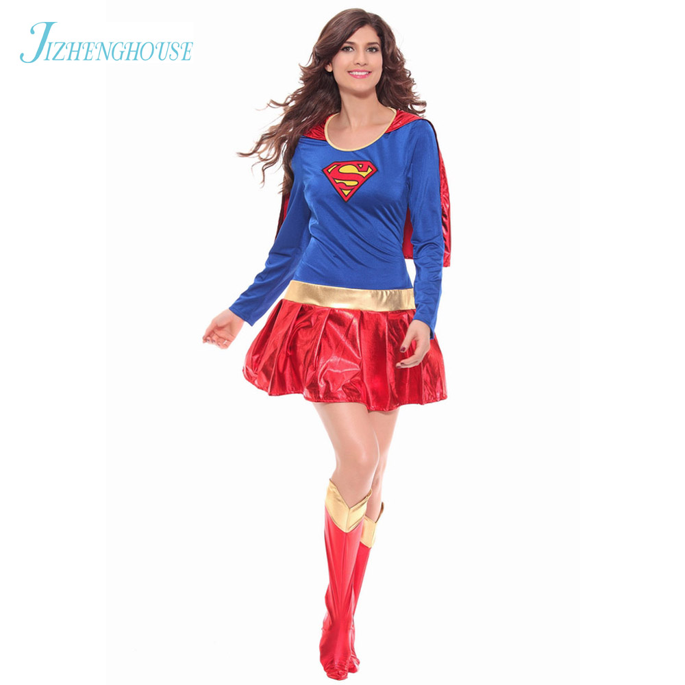 JIZHENGHOUSE Halloween Costume New Supergirl Sexy Girl Super Hero Costume Cosplay Party For Super Girl Costume