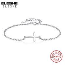 ELESHE-Pulseras de dijes cruzados para mujer, brazaletes de plata de ley 925, joyería de amistad