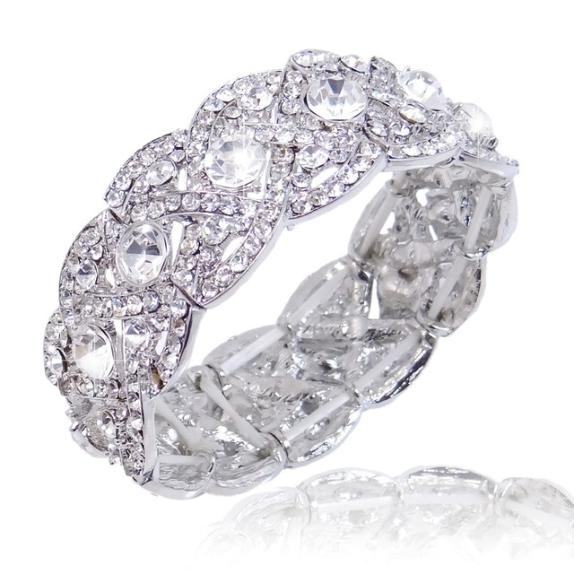 BELLA New Silver Plated Bridal Bracelet Bangle Clear Austrian Crystal Bracelet For Wedding Accessories Bridesmaid Jewelry