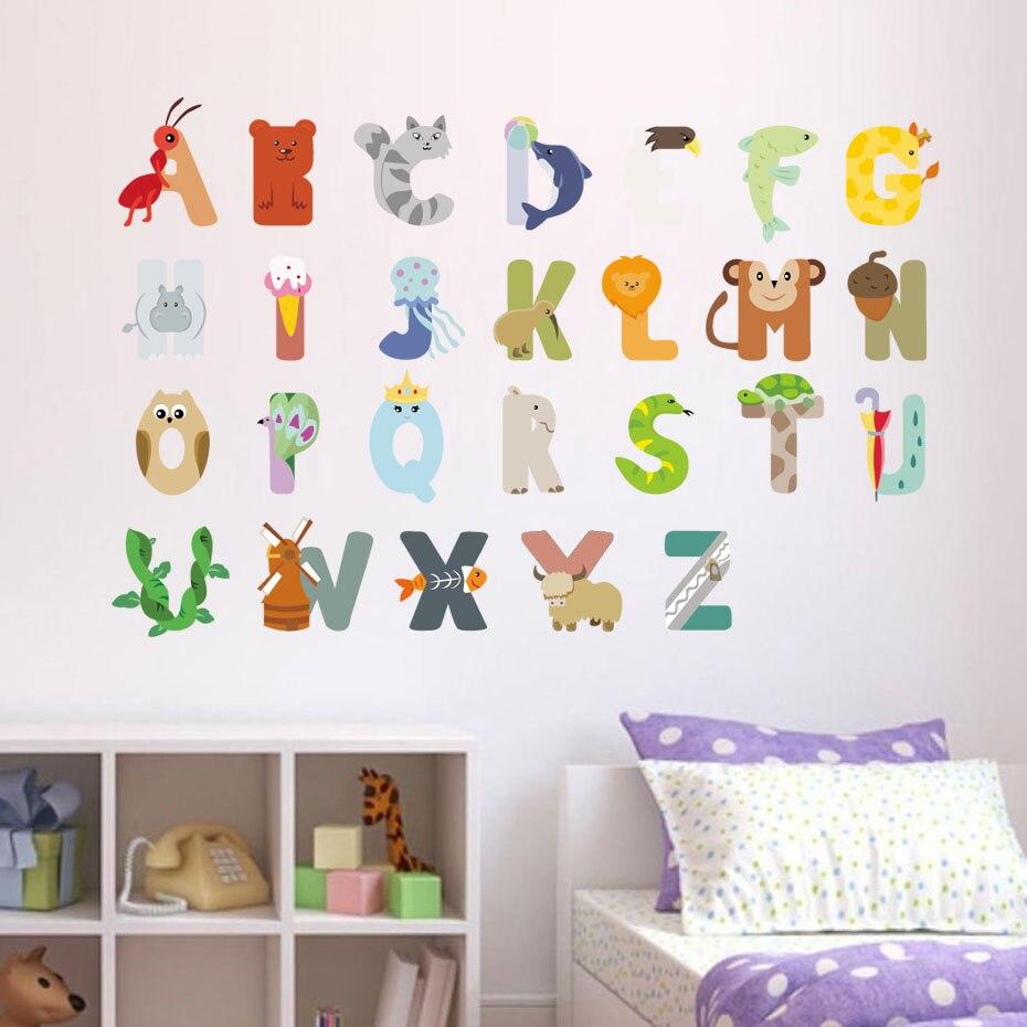Us 7 73 29 Off Diy Cartoon Abc Letter Wall Sticker Pvc Cute Animal Kids Room Wall Decals Poster Wallpaper Nursery Wall Art Home Decor In Wall