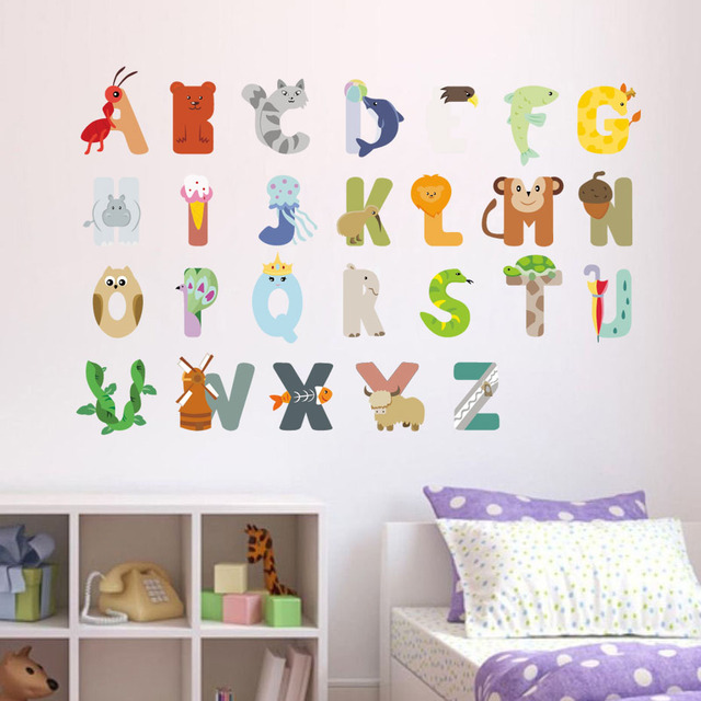 Elegant DIY Cartoon ABC Letter Wall Sticker PVC Cute Animal Kids Room Wall Decals  Poster Wallpaper Nursery