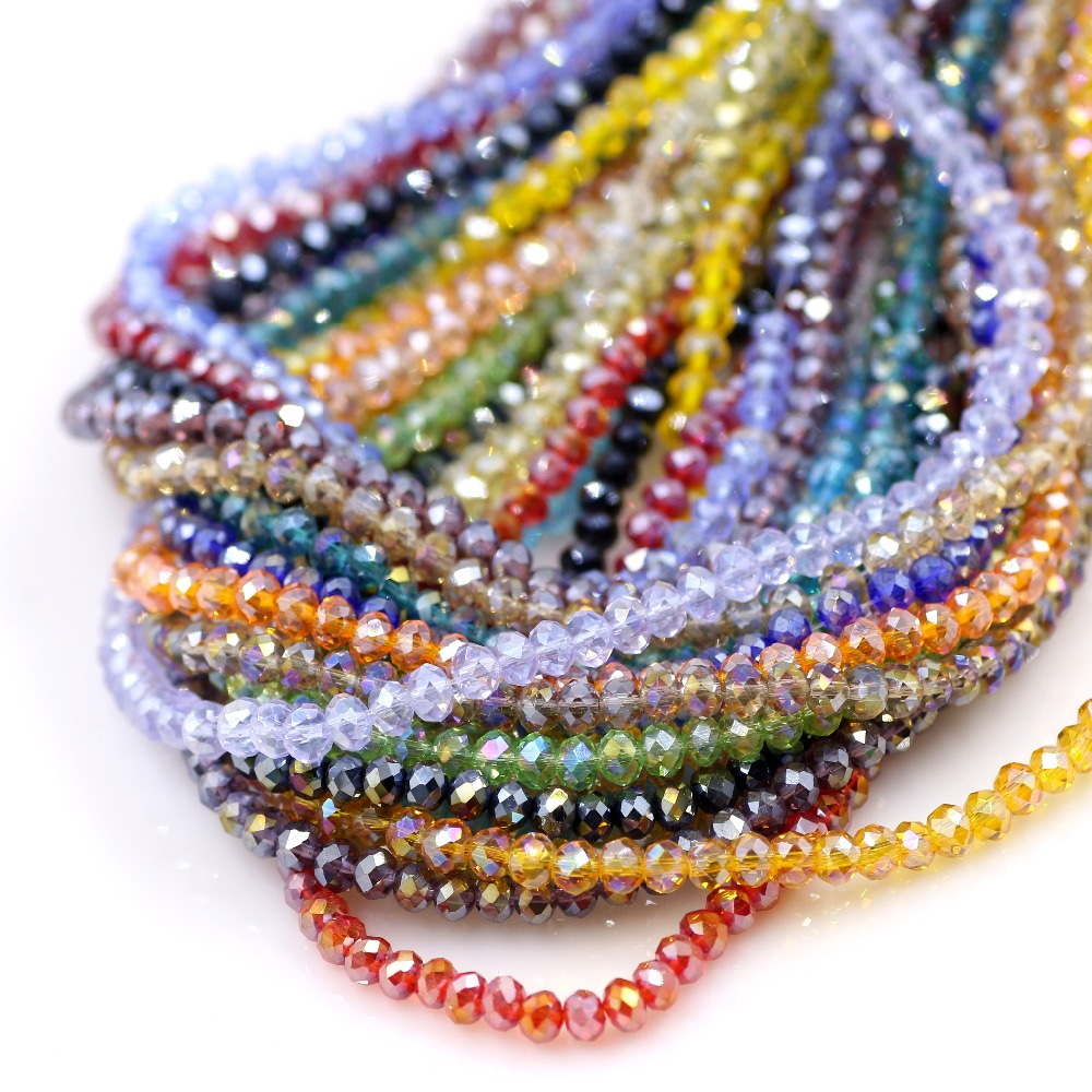 Plastic beads for crafts - Rondelle Beads 3mm 48 Cuts Crystal Glass Beads 450pcs Lot Diy Crafts Stone Spacer Crystal
