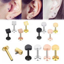 16G Heart Piercing Ear Tragus Inner Spiral Labret Cartilage Stainless Steel Barbell Geometry LOVE Earrings Body Piercing Jewelry(China)