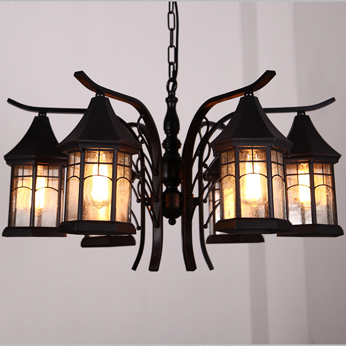 American Country Retro Pendant Lights Fixture 6 Lamps Home Indoor Restaurant Dining Room Bedroom Cafes Bar Shop Metal Droplights