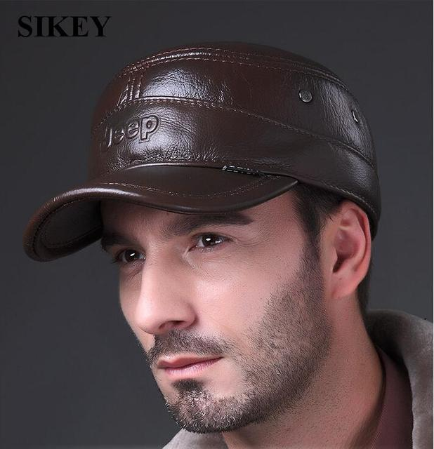 HL024 Genuine Leather Flat Peak Baseball Cap Hip Hop Hat Snapback 4CLORS