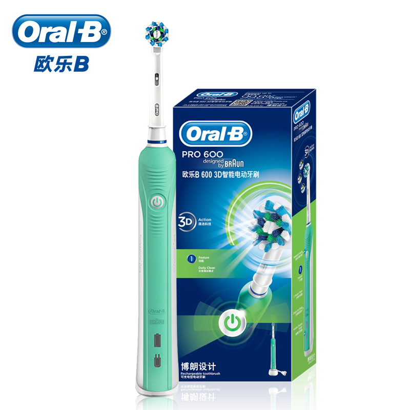 Oral B Electric Toothbrush Oral Pro 600 Electric Tooth Brush Cross Action Rechargeable Toothbrush Personal Care 3D Cleaning D16 image