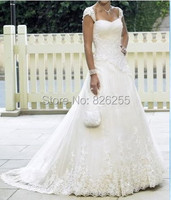 In Stock Free Shipping Popular White Ivory A Line Sweetheart Organza Wedding Dresses Gowns With Appliques
