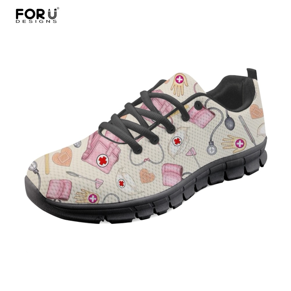 FORUDESIGNS Fashion Women Flats Shoes Nurse Casual Womens Sneakers Nurses Leisure Mesh Shoes for Woman Flat Lady Zapatos Mujer