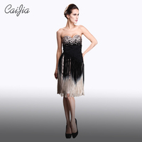 Caijia Heavy beading Tassel Strapless Cocktail Dress