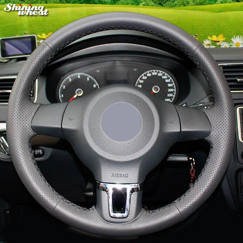 Brillant blé Noir Véritable Couverture de Volant En Cuir pour Volkswagen Golf 6 Mk6 VW Polo Sagitar Jetta Mk6 Bora Santana